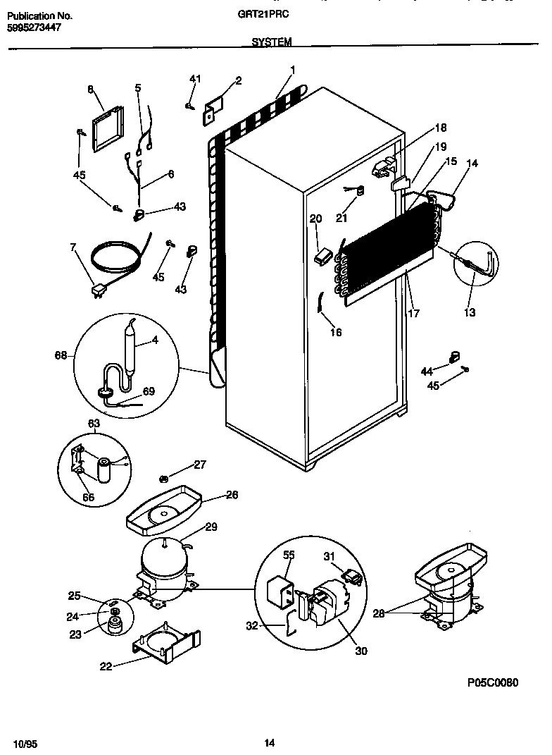 Gibson model GRT21PRCW0 top-mount refrigerator genuine parts