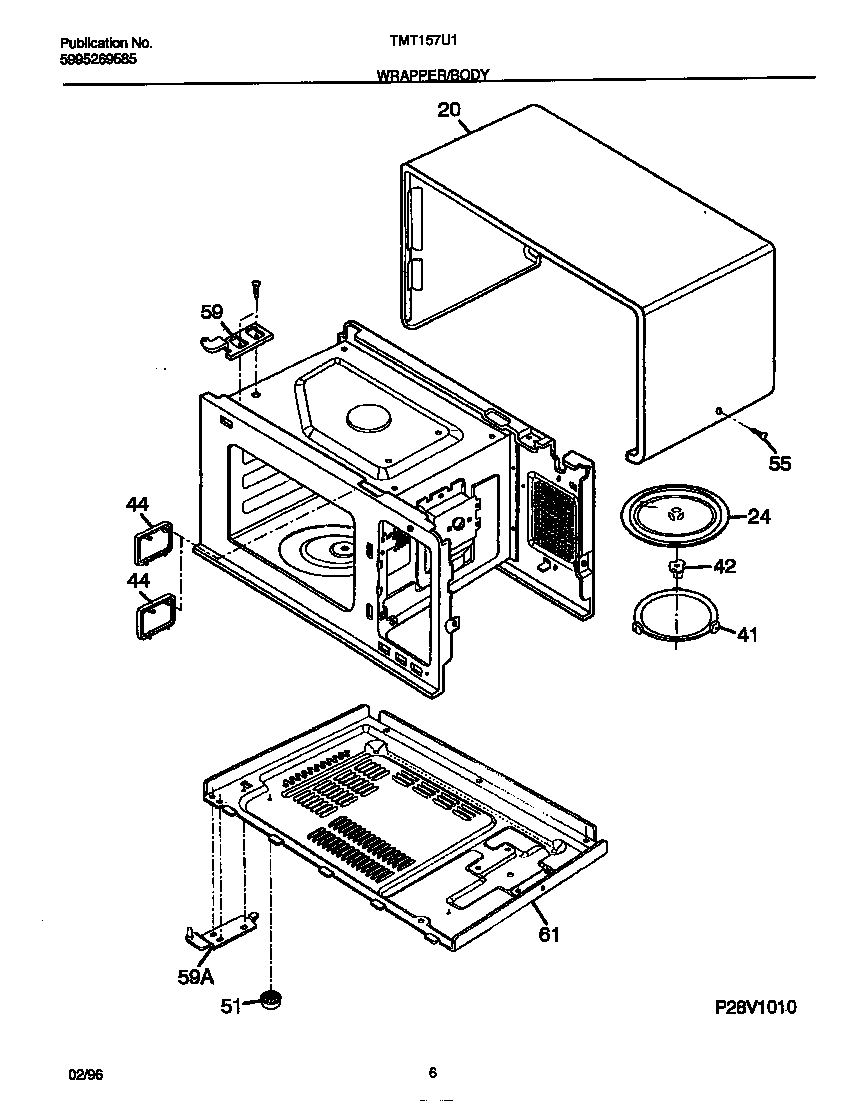 Tappan model TMT157U1B0 countertop microwave genuine parts