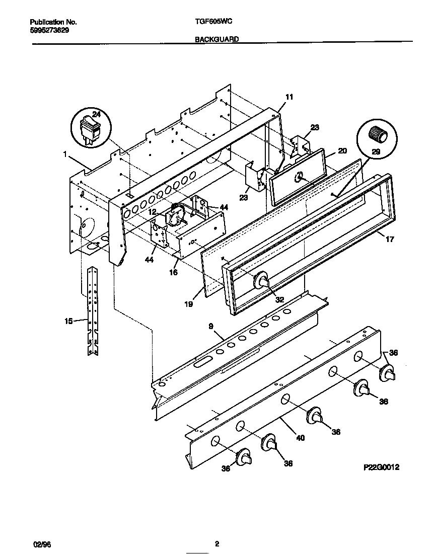 Tappan model TGF605WCDA range (gas) genuine parts