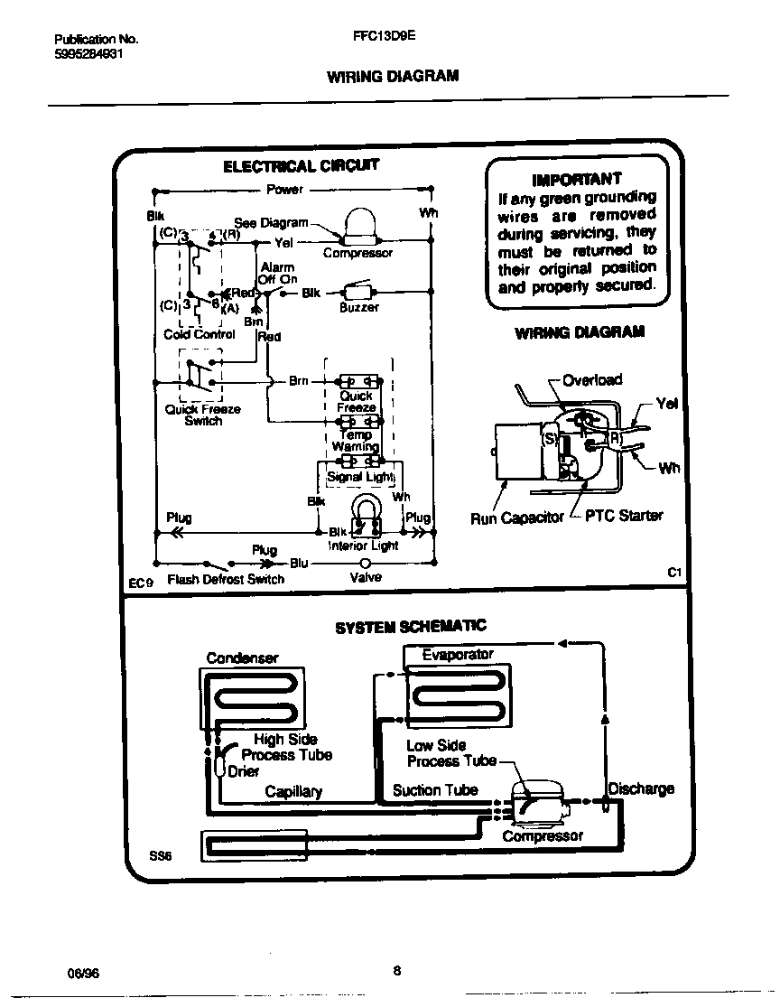 Frigidaire model FFC13D9EW0 chest freezer genuine parts