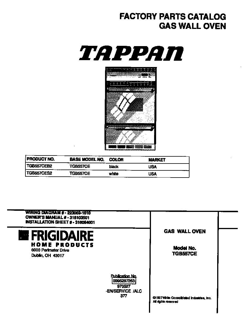 Tappan model TGB557CES2 wall oven, gas genuine parts
