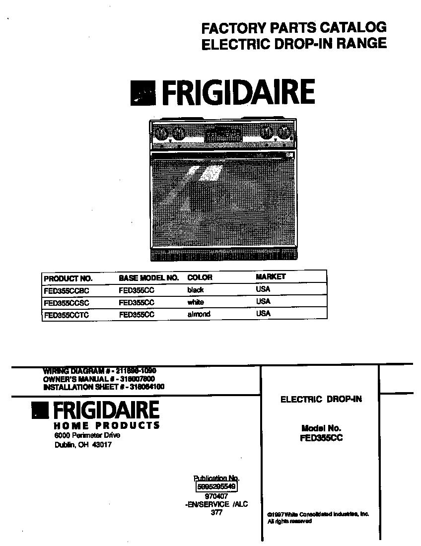 Frigidaire model FED355CCSC drop-in range, electric