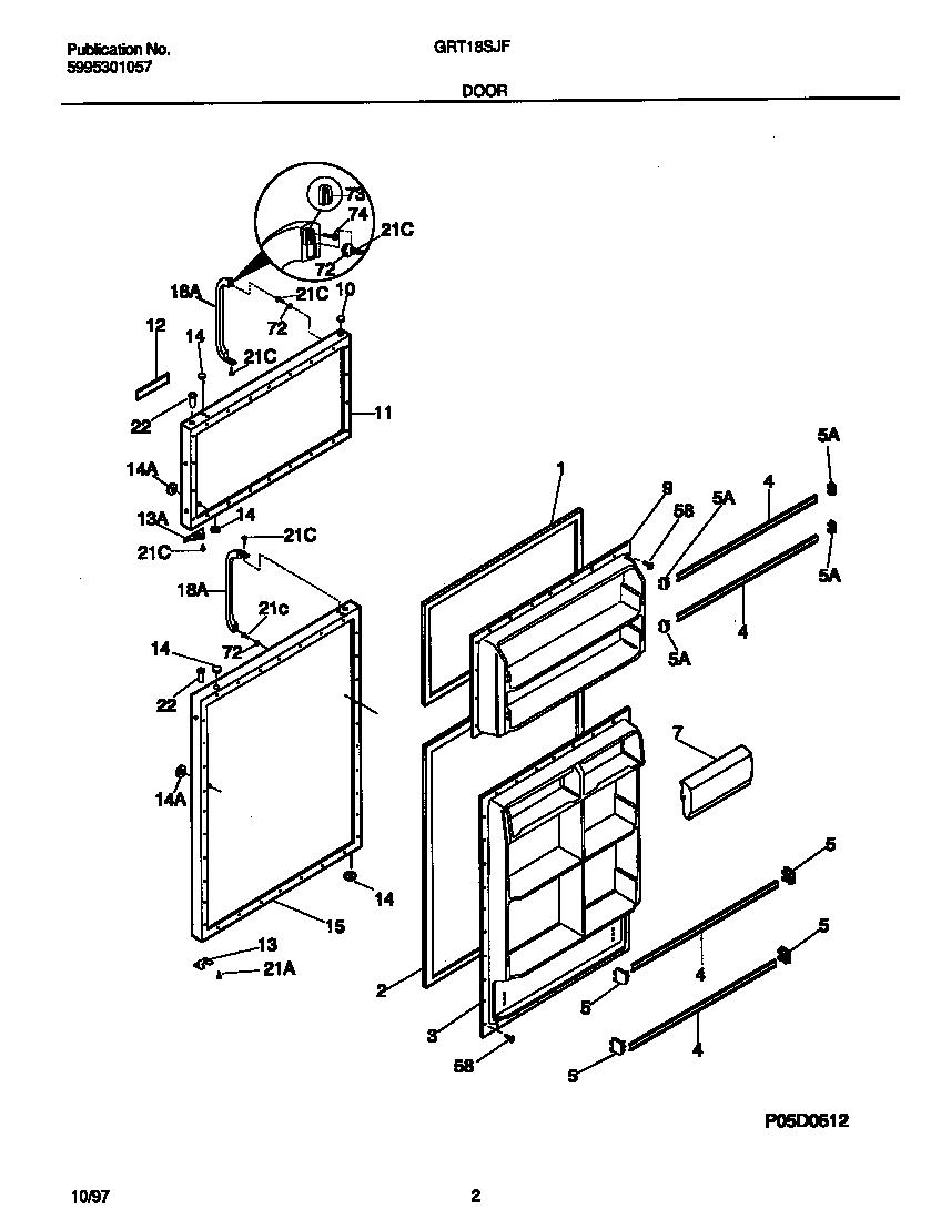 Gibson model GRT18SJFD0 top-mount refrigerator genuine parts