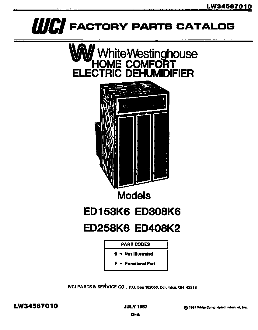 White-Westinghouse model ED258K6 dehumidifier genuine parts