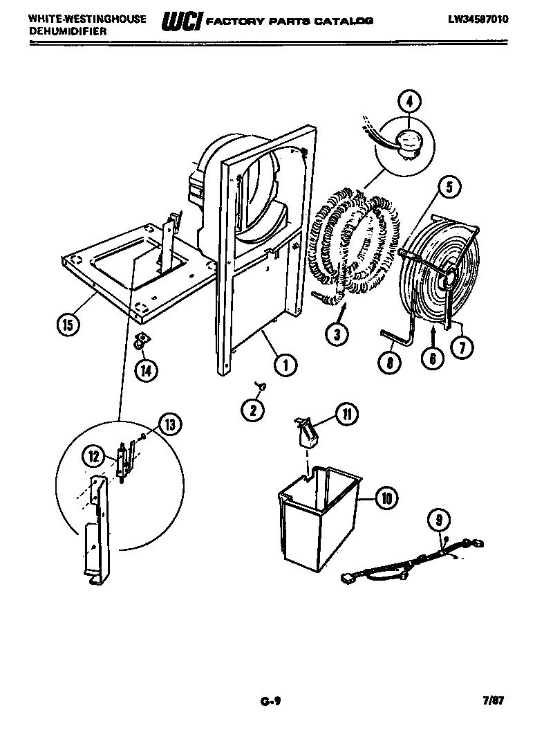 White-Westinghouse model ED258K6 dehumidifier genuine parts