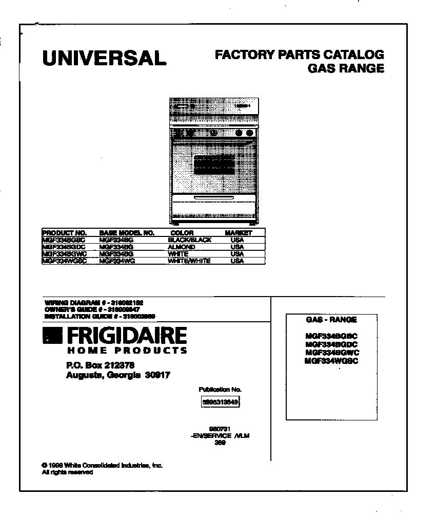 Universal-Multiflex-Frigidaire model MGF334BGDC free