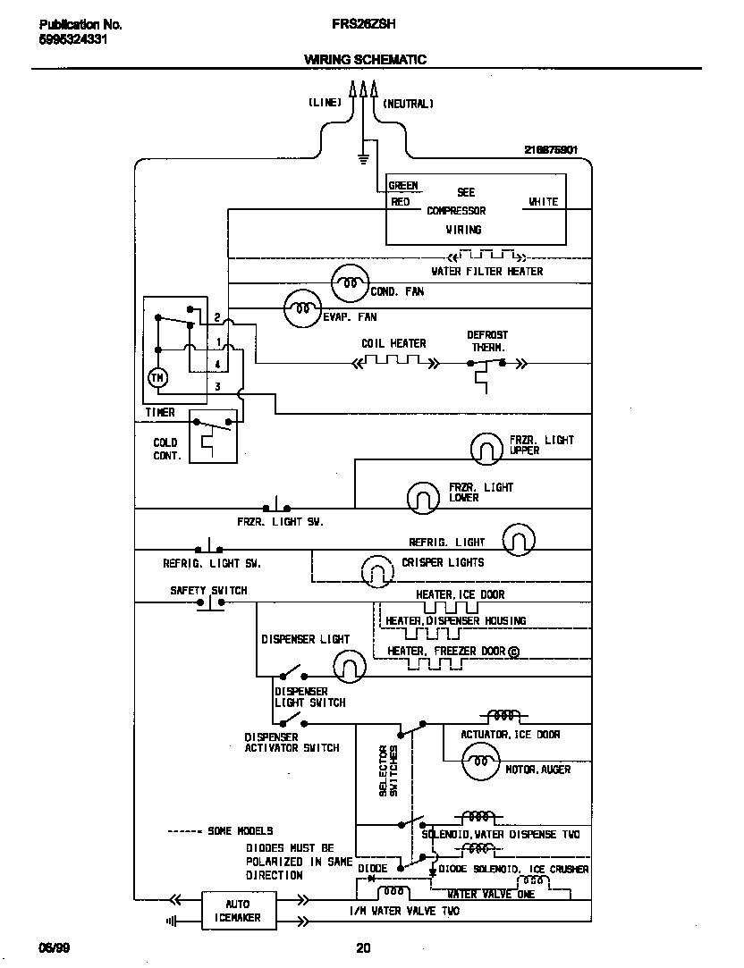 Frigidaire model FRS26ZSHB0 side-by-side refrigerator