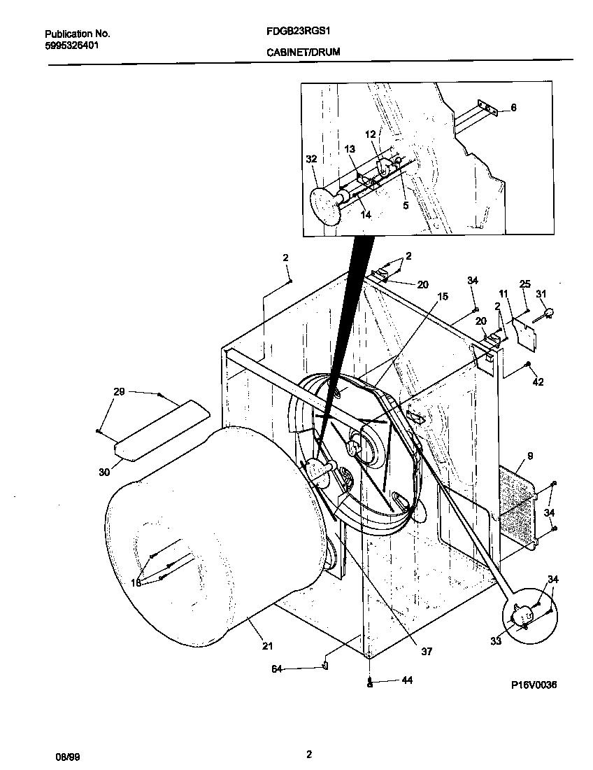 Frigidaire model FDGB23RGS1 residential dryer genuine parts