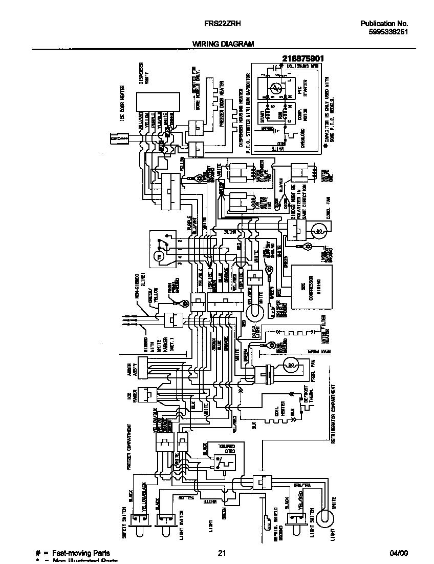 Frigidaire model FRS22ZRHD0 side-by-side refrigerator