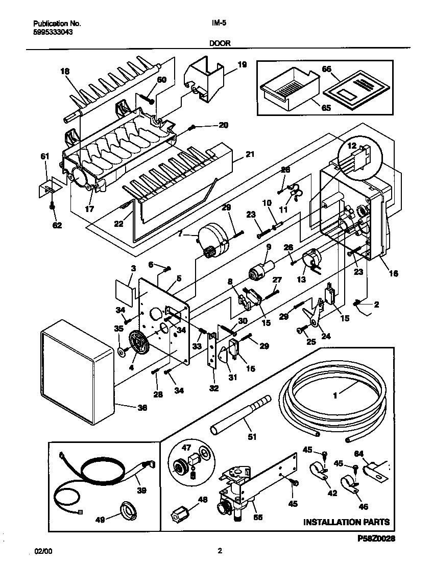 Frigidaire model IM-5 ice maker kits genuine parts