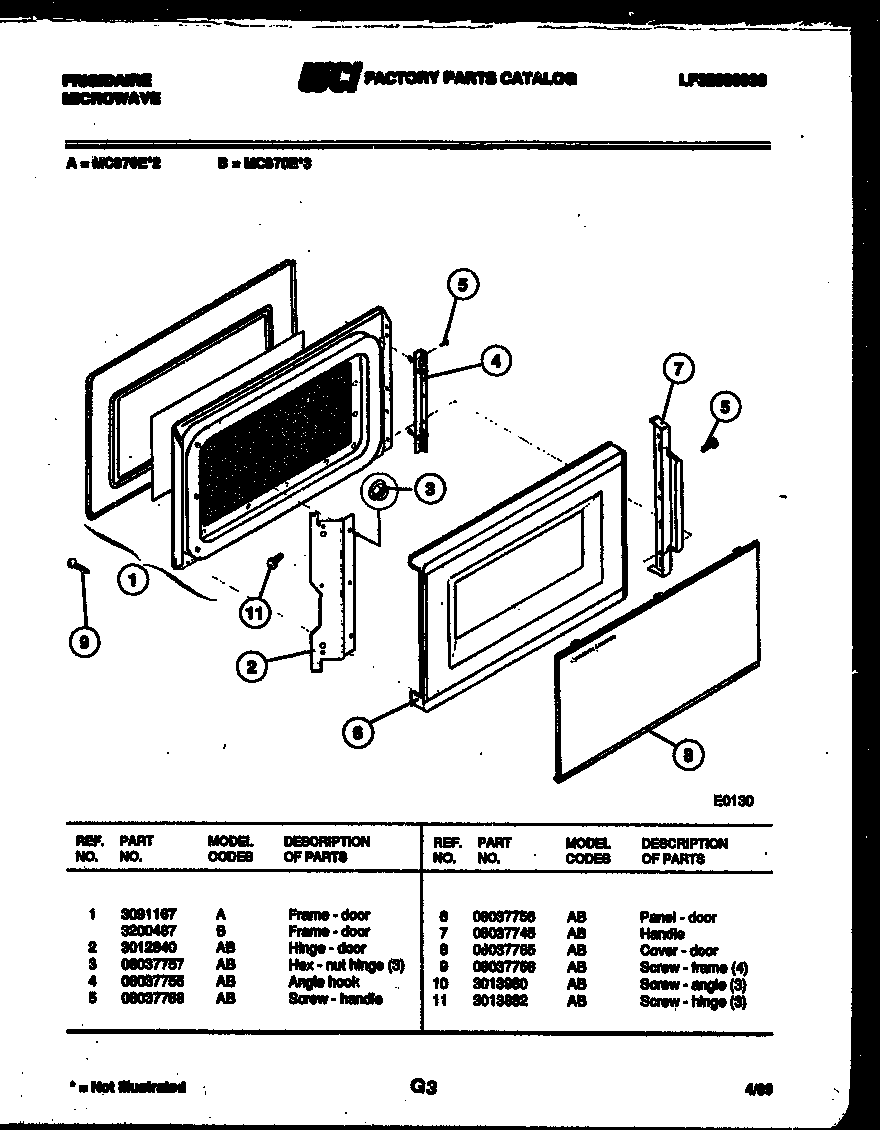 Frigidaire model MC870E3 countertop microwave genuine parts