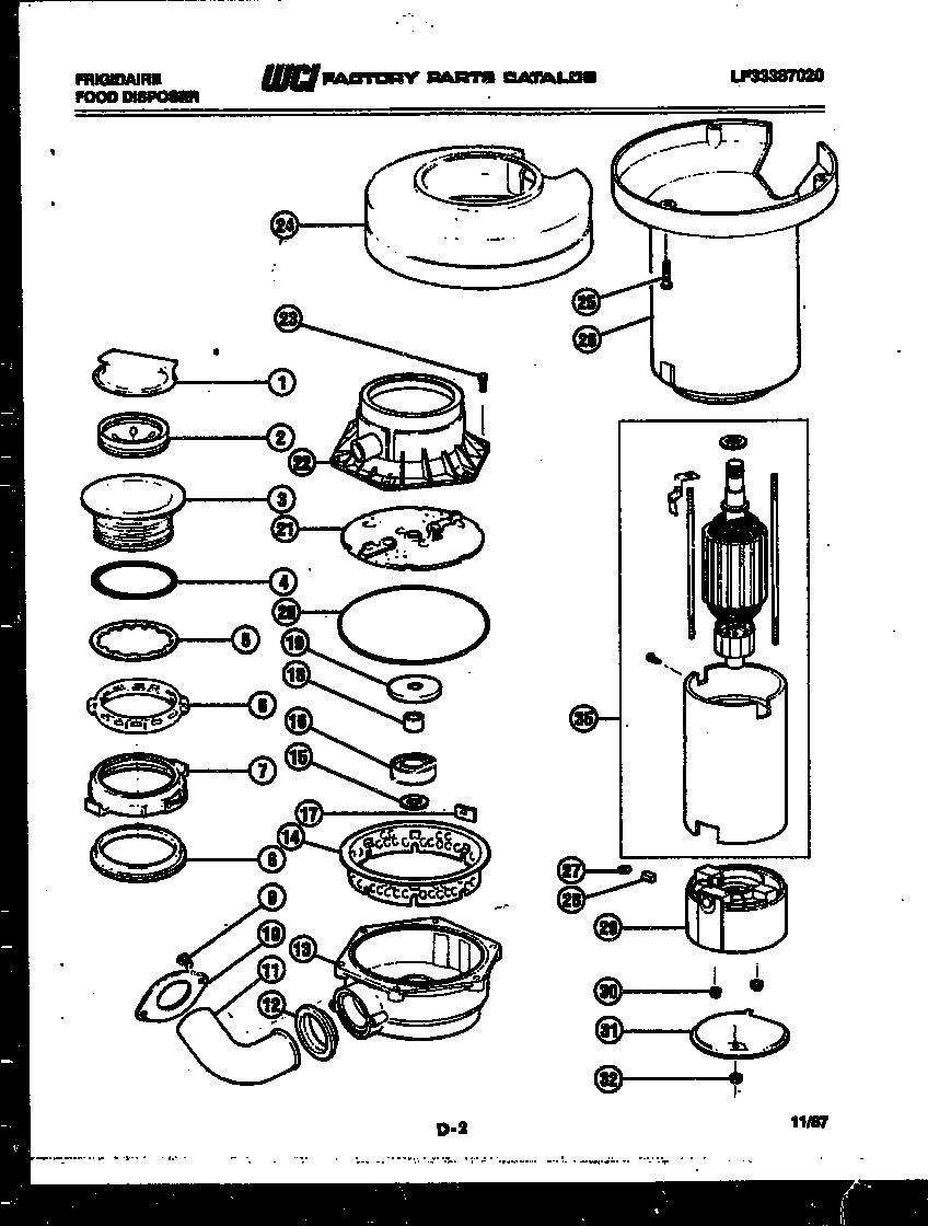 Frigidaire model FD5500D garbage disposal genuine parts