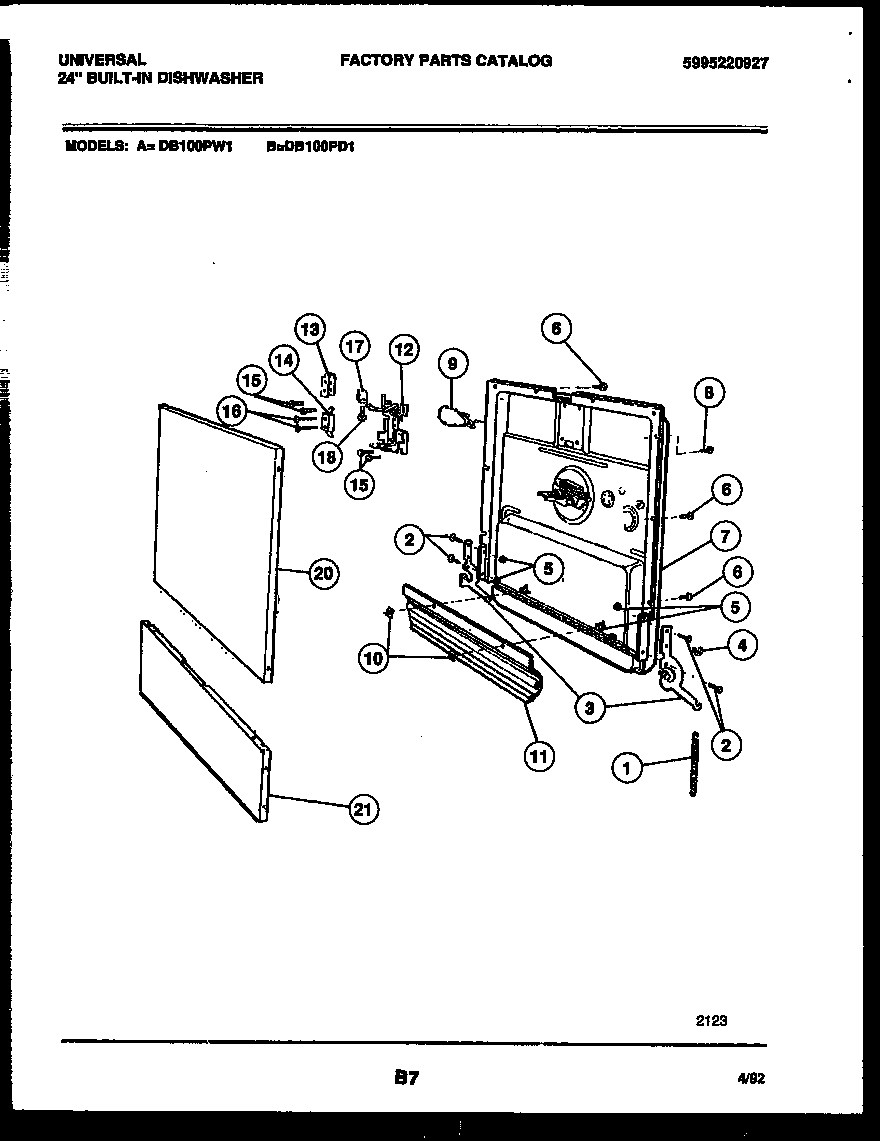 White-Westinghouse model DB100PD1 dishwasher genuine parts