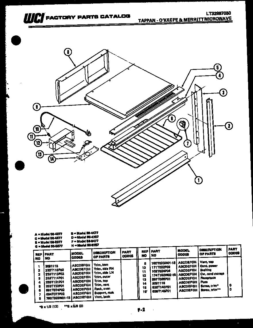 Tappan model 56-8277-10-01 countertop microwave genuine parts