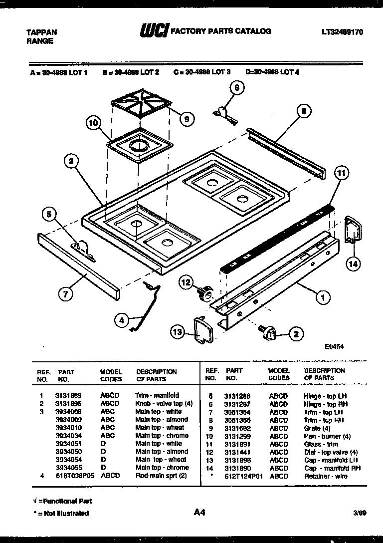 Tappan model 30-4988-23-01 range (gas) genuine parts