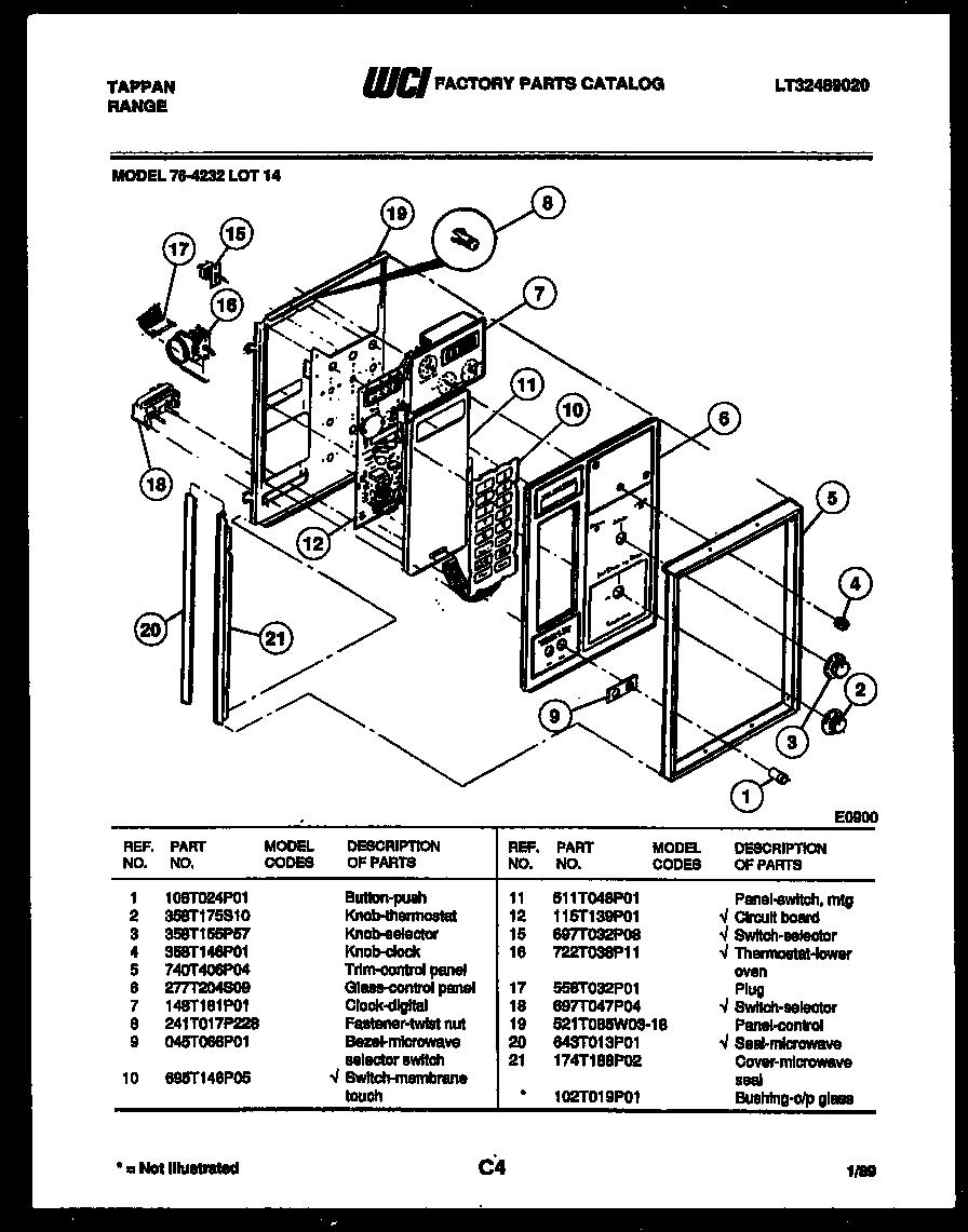 Tappan model 76-4232-66-14 range (gas) genuine parts