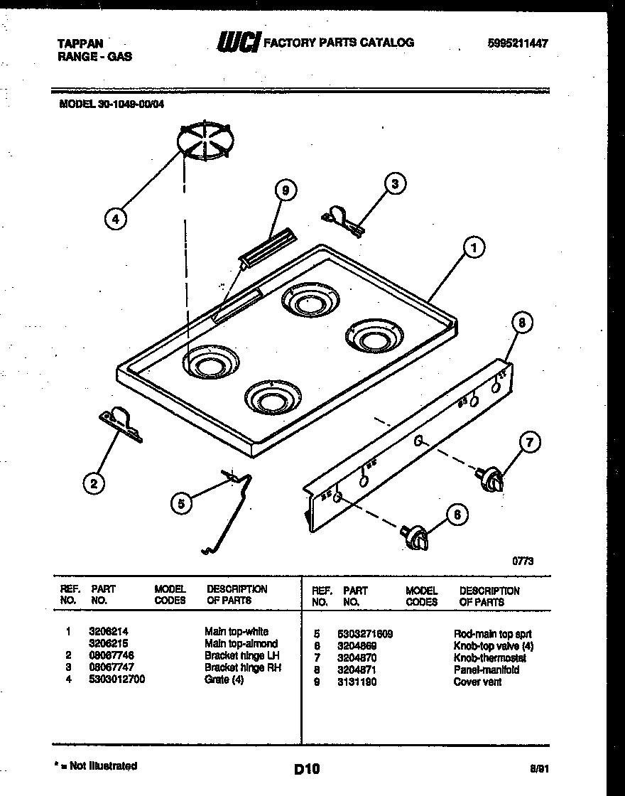 Tappan model 30-1049-00-04 range (gas) genuine parts