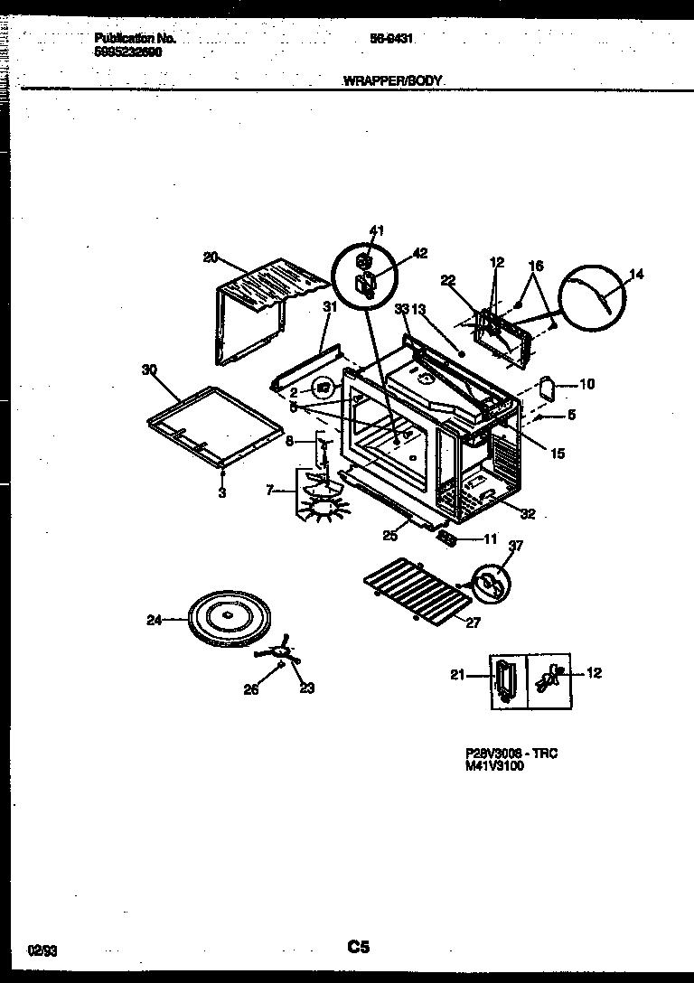 Tappan model 56-9431-10-05 countertop microwave genuine parts