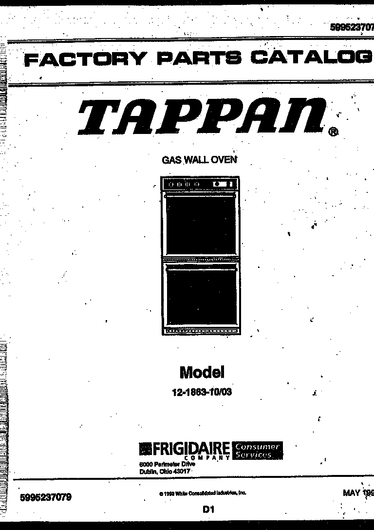 Tappan model 12-1863-00-03 wall oven, gas genuine parts