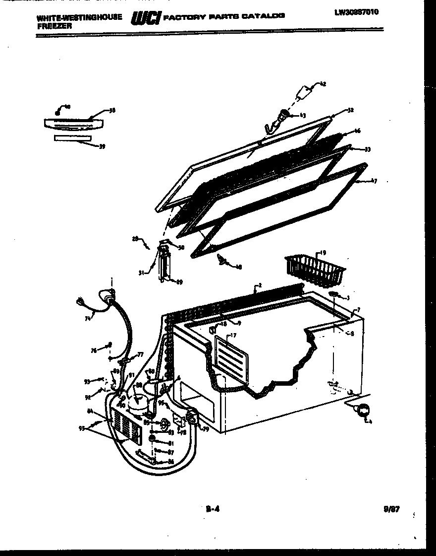 White-Westinghouse model FC182KTW2 chest freezer genuine parts