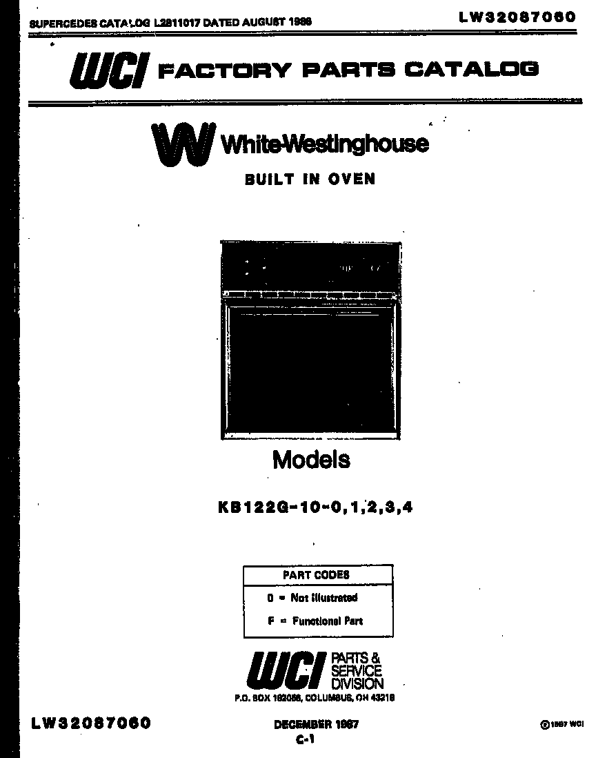 White-Westinghouse model KB122G4 built-in oven, electric