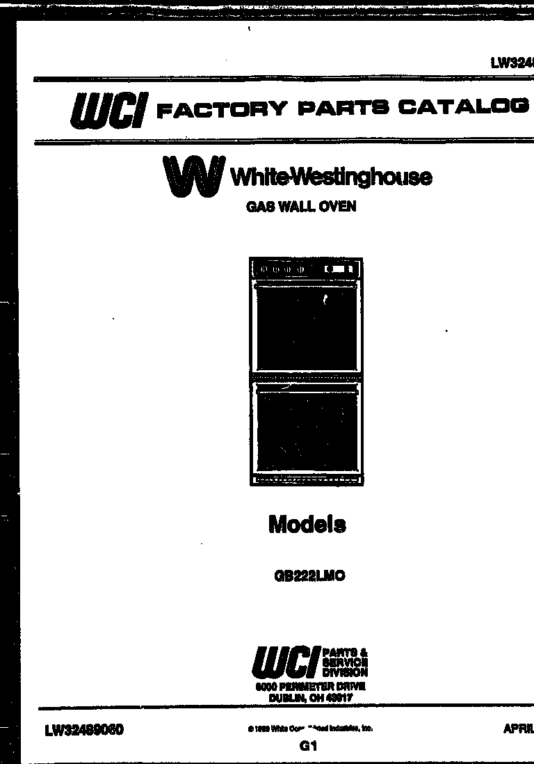 White-Westinghouse model GB222LM0 wall oven, gas genuine parts