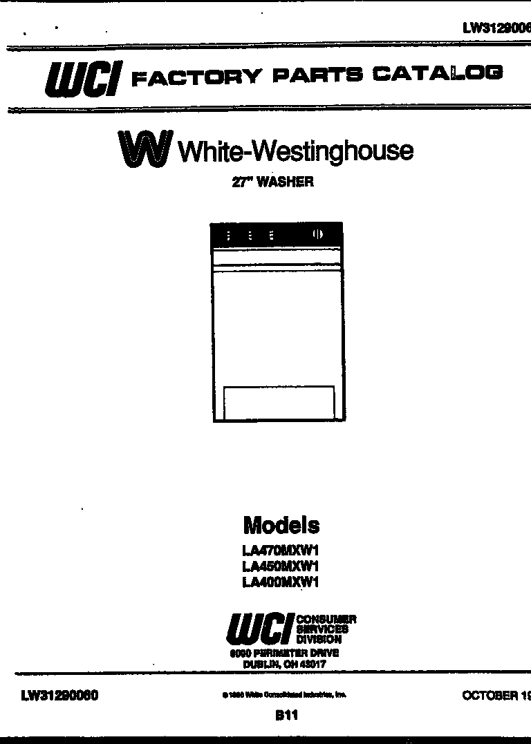 White-Westinghouse model LA400MXD1 washers genuine parts