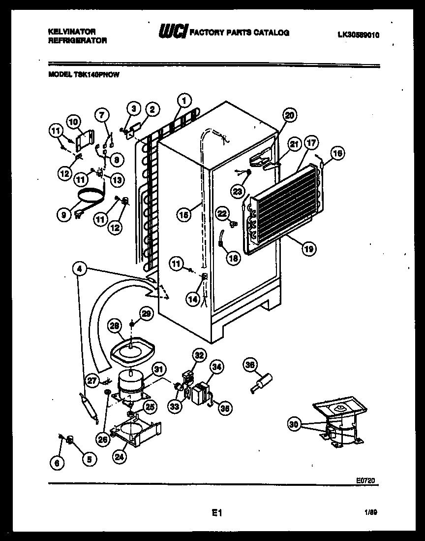 Kelvinator model TSI206EN1D top-mount refrigerator genuine