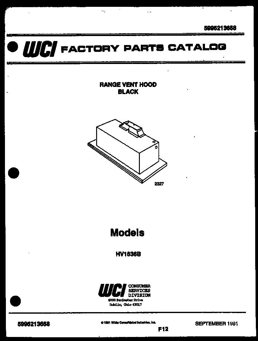 Kelvinator model HV1536B range hood genuine parts
