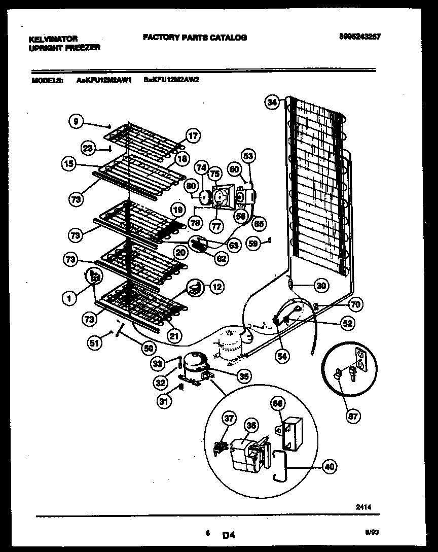 Kelvinator model KFU12M2AW2 upright freezer genuine parts
