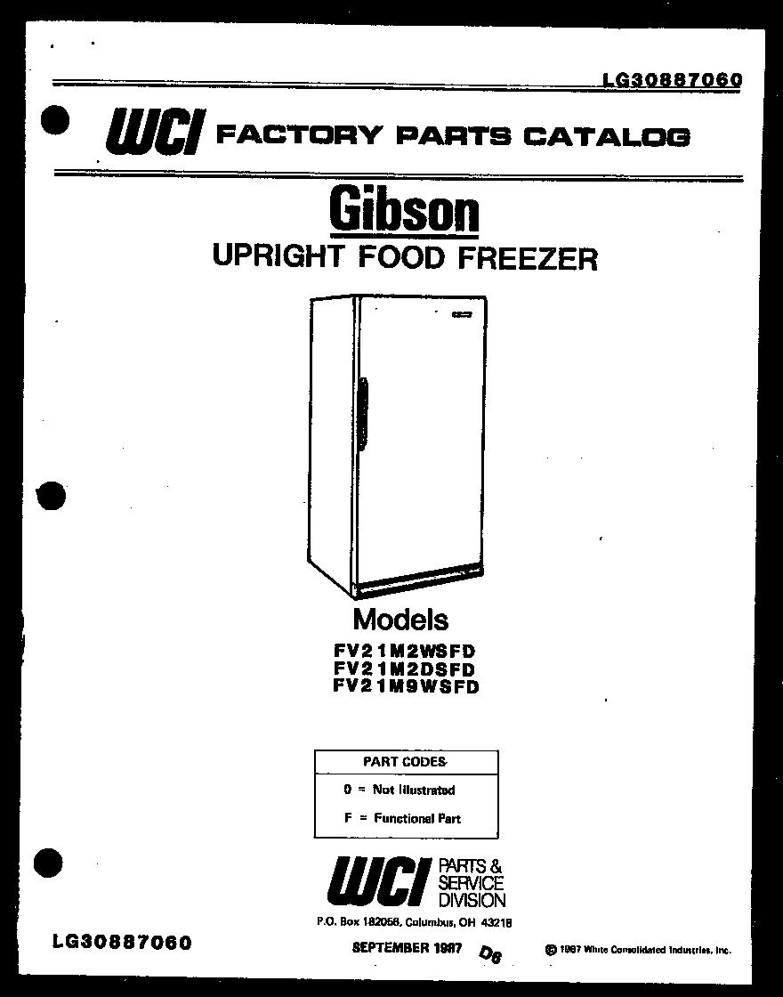 Gibson model FV21M2WSFD upright freezer genuine parts