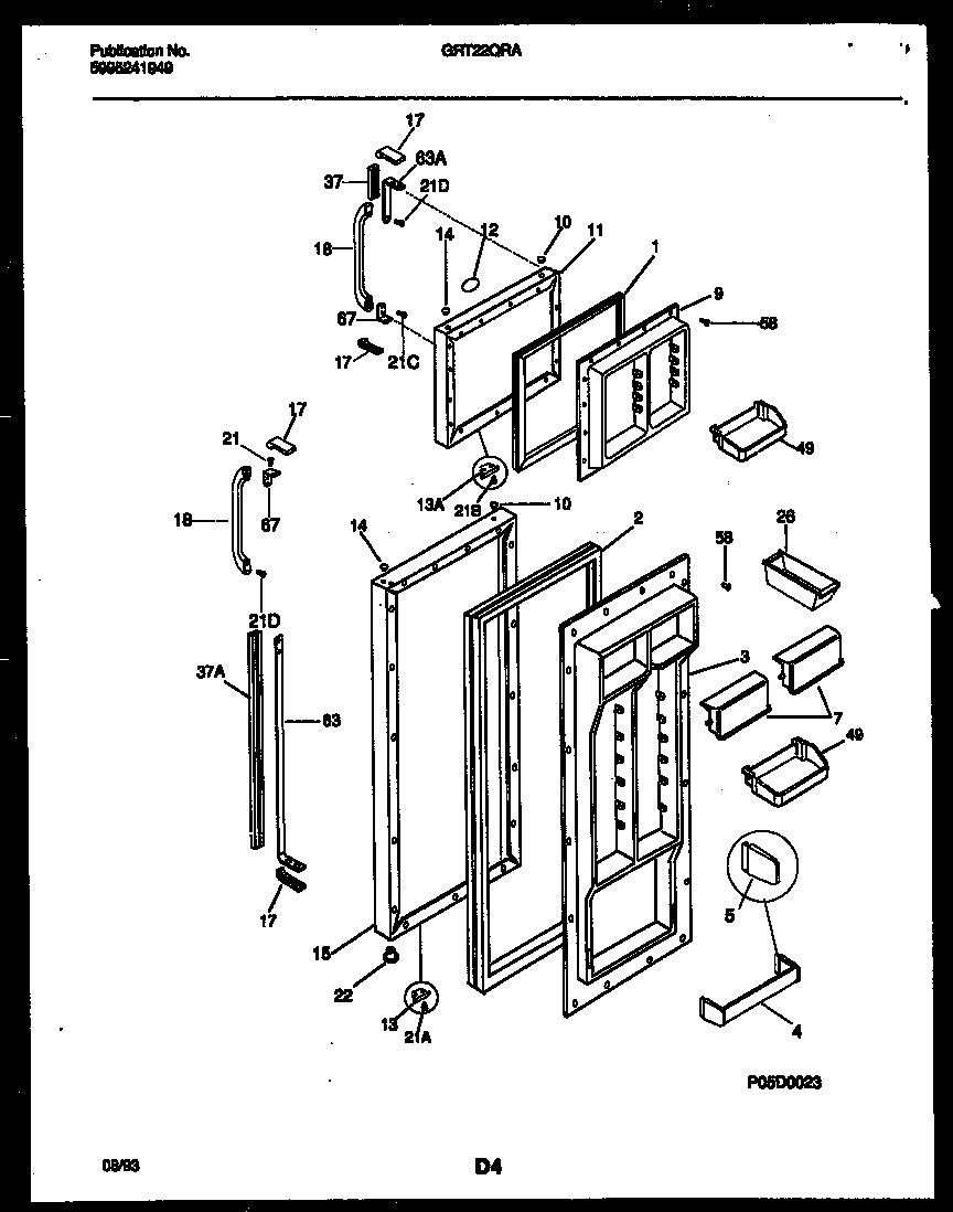 Gibson model GRT22QRAD0 top-mount refrigerator genuine parts
