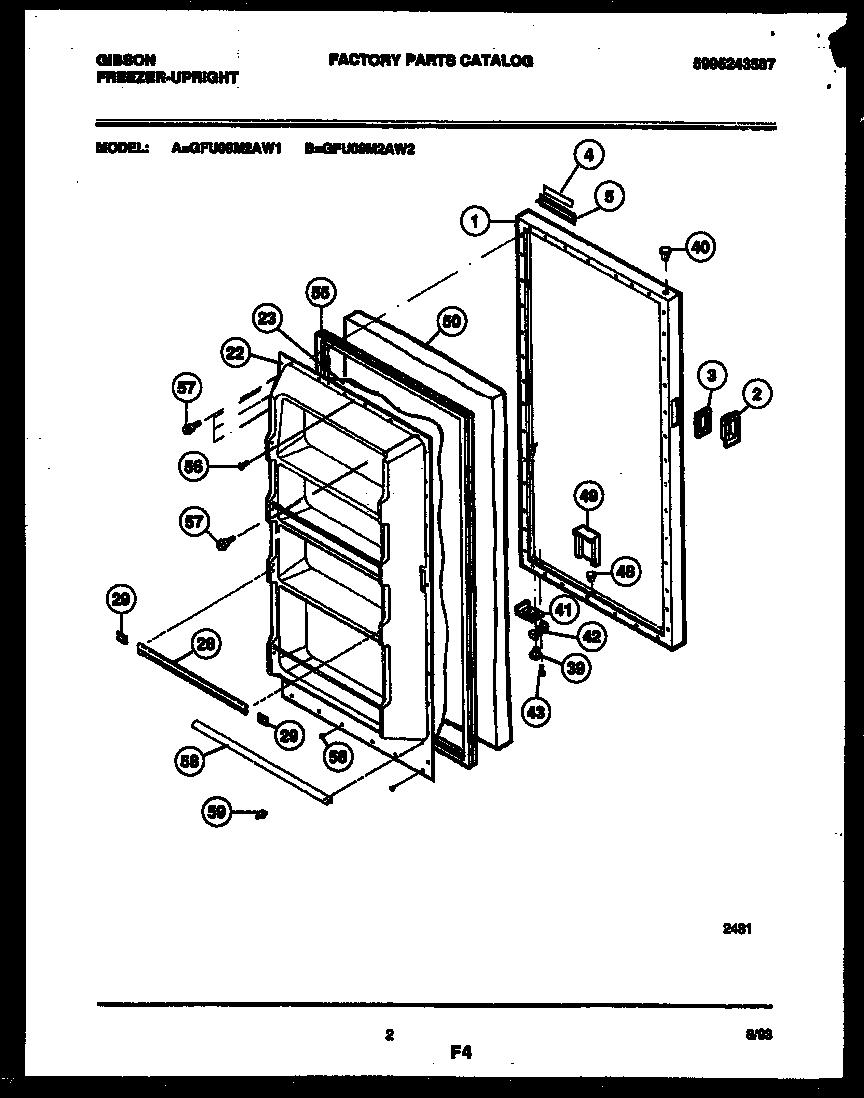 Gibson model GFU09M2AW1 upright freezer genuine parts