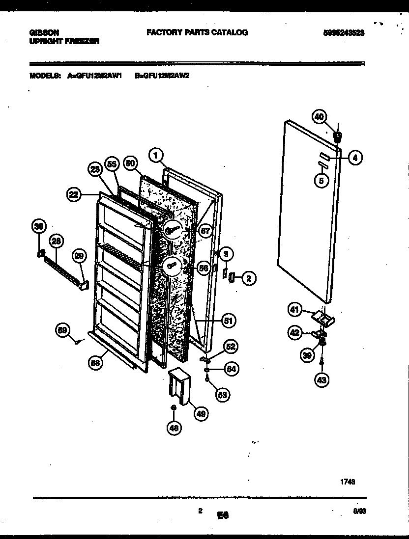 Gibson model GFU12M2AW2 upright freezer genuine parts