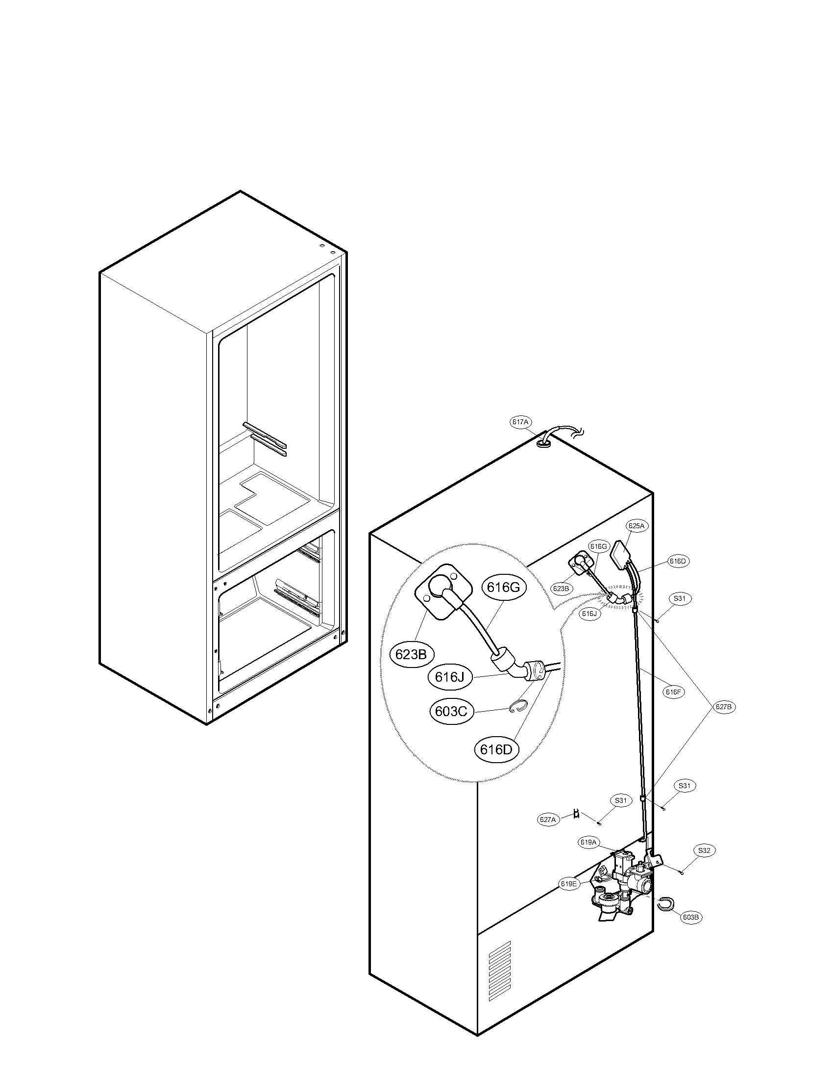 Lg model LFX25978ST/00 bottom-mount refrigerator genuine parts