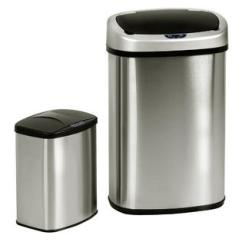 Stainless Steel Kitchen Trash Can Color Ideas For Cans Garbage Sears Goplus Set Of 2 Touch Free Motion Sensor Bin 13 3 Gallon