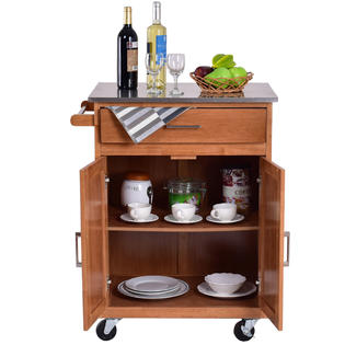 kitchen trolley cart aid dishwasher reviews goplus wood stainless steel top rolling storage cabinet island new