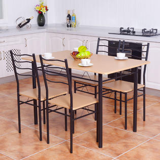 dining table with metal chairs nail salon chair sets room kmart goplus 5 piece set 4 wood kitchen breakfast furnitur