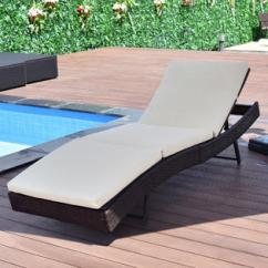 Poolside Lounge Chairs Folding Captains Chaise Patio Sears Goplus Sun Bed Adjustable Pool Wicker Chair Outdoor Furniture W Cushion