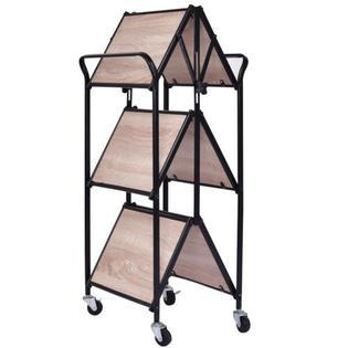 kitchen trolley cart barbie sets goplus 3 tier folding rolling serving dining storage shelves new