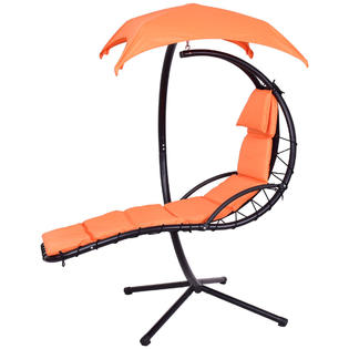 hammock chair with canopy quartz folding goplus op3349or hanging chaise lounger arc stand swing orange