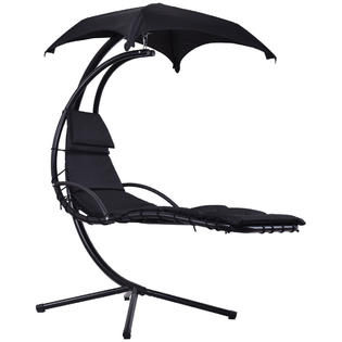 hammock chair with canopy kids sports goplus op3349bk hanging chaise lounger arc stand swing black