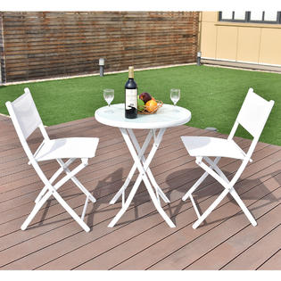 bistro tables and chairs chair covers by hana reviews outdoor sets sears goplus 3 pcs folding table set garden backyard patio furniture white new