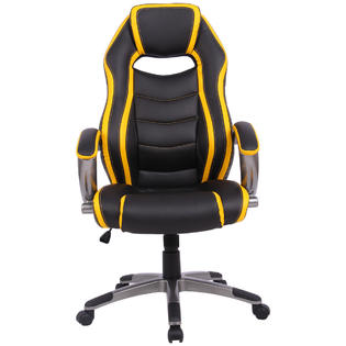 office chair high seat lazy boy bed goplus racing car style back bucket gaming black yellow