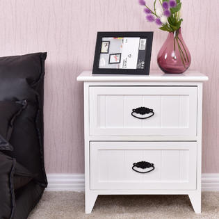goplus 2 drawers nightstand storage