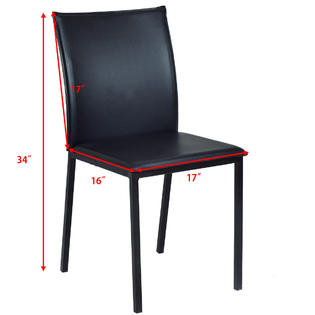 set of 4 dining chairs folding floor chair target goplus pu leather armless metal legs home kitchen furniture new