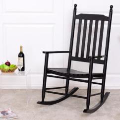 Black Rocking Chairs Sogno Massage Chair Price Porch Goplus Wooden Rocker Armchair Balcony Deck Garden Furniture