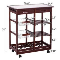 Kitchen Trolley Cart Wooden Cabinets Goplus 4 Tier Rolling Wood W Storage Drawers Dining Portable
