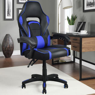recliner gaming chair dental technician jobs goplus executive racing style pu leather high back office blue