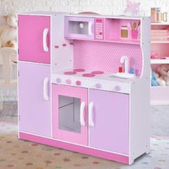 Wood Kitchen Playsets Narrow Cabinets Costway Kids Toy Cooking Pretend Play Set Toddler Wooden Playset Gift New